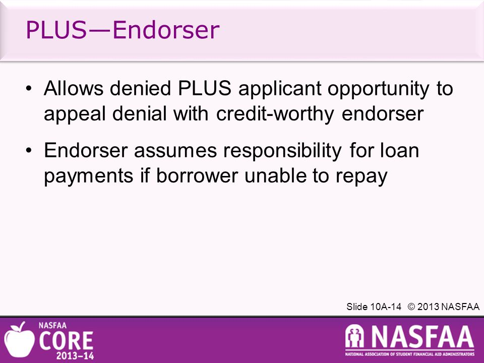 Slide 10A-14 © 2013 NASFAA Allows denied PLUS applicant opportunity to appeal denial with credit-worthy endorser Endorser assumes responsibility for loan payments if borrower unable to repay PLUS—Endorser