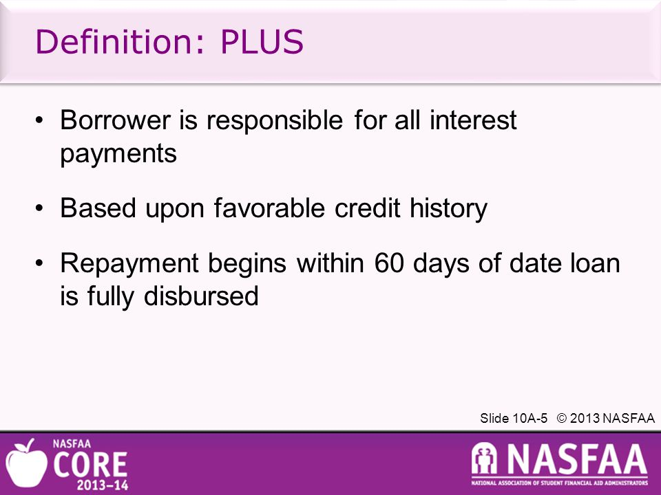 Slide 10A-6 © 2013 NASFAA Interest rates effective 7/1/13 Creates a fixed-variable solution T-bill + 2.05% undergraduate T-bill + 3.60% graduate T-bill + 4.60% Parent/Grad PLUS Interest rates will be calculated every year, but once the loan is made, the interest rate will remain for the life of the loan