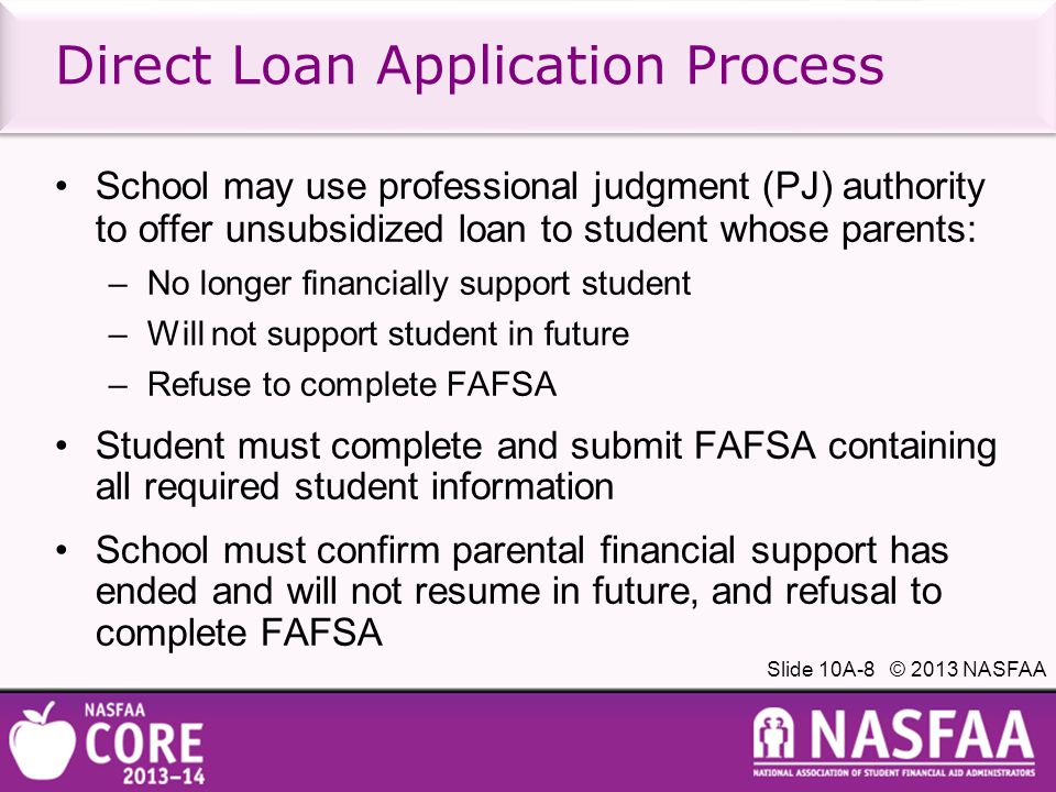 Slide 10A-19 © 2013 NASFAA Direct Loan Amount Direct Loan amount which may be originated is lesser of: Maximum amount for which borrower is eligible; or Loan amount requested by borrower