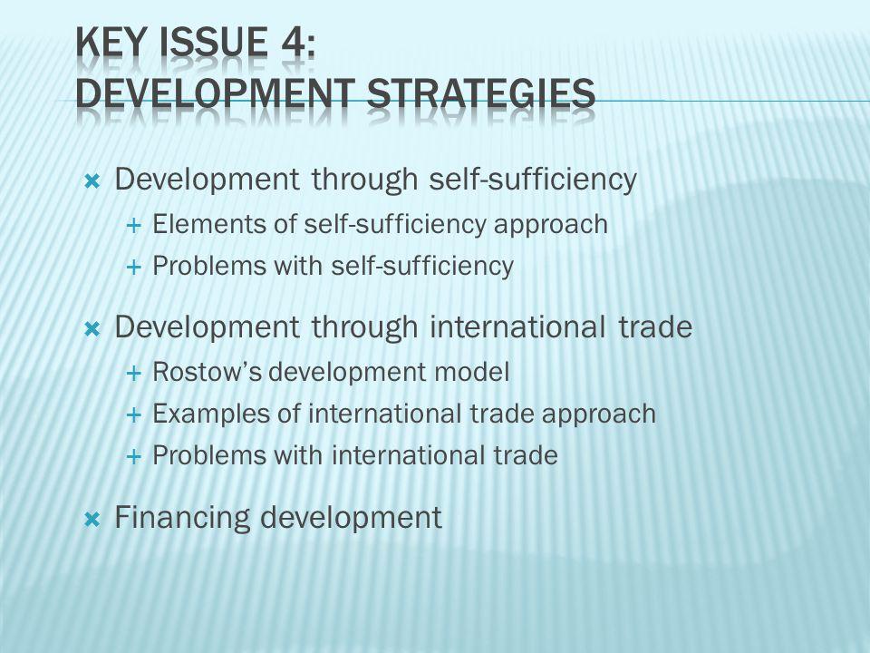  Development through self-sufficiency  Elements of self-sufficiency approach  Problems with self-sufficiency  Development through international tr