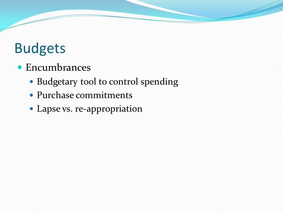 Budgets Encumbrances Budgetary tool to control spending Purchase commitments Lapse vs. re-appropriation