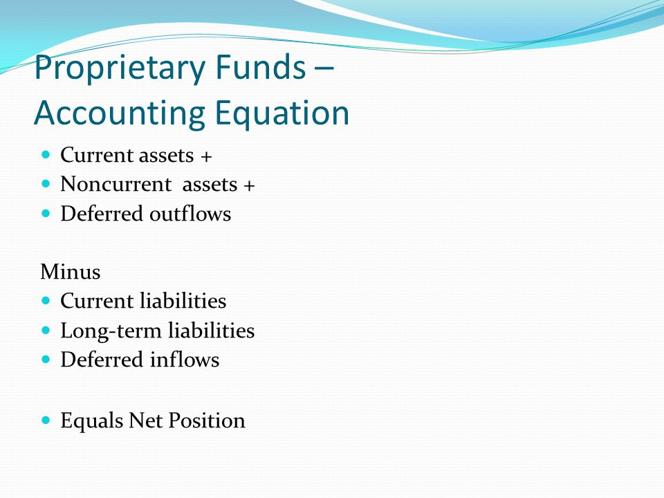 Proprietary Funds – Accounting Equation Current assets + Noncurrent assets + Deferred outflows Minus Current liabilities Long-term liabilities Deferre