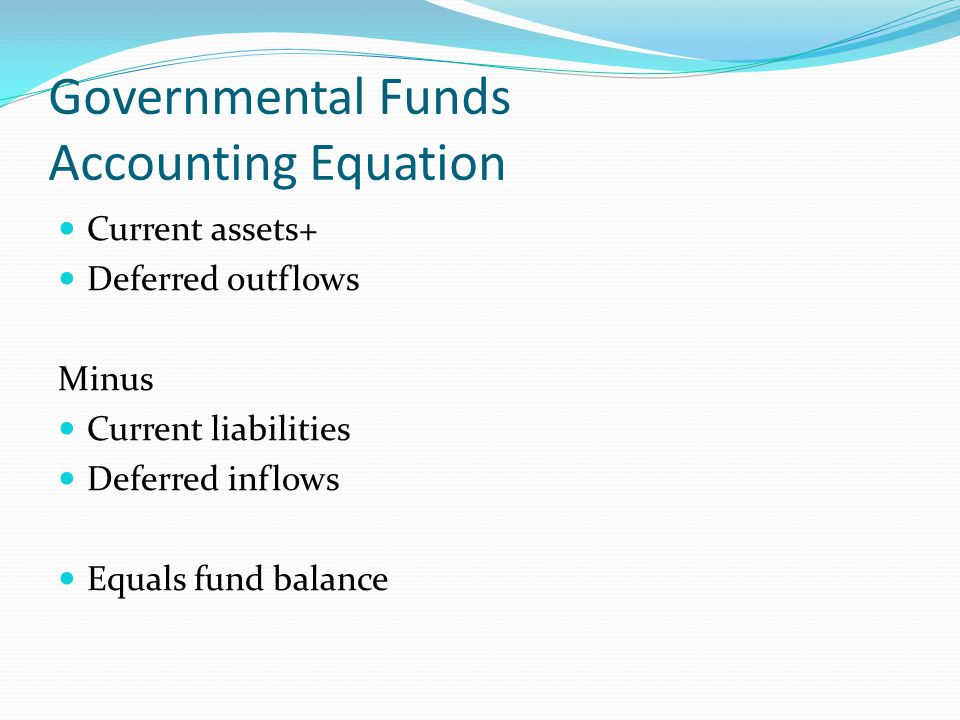 Governmental Funds Accounting Equation Current assets+ Deferred outflows Minus Current liabilities Deferred inflows Equals fund balance