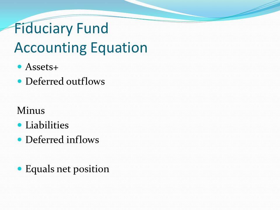 Fiduciary Fund Accounting Equation Assets+ Deferred outflows Minus Liabilities Deferred inflows Equals net position