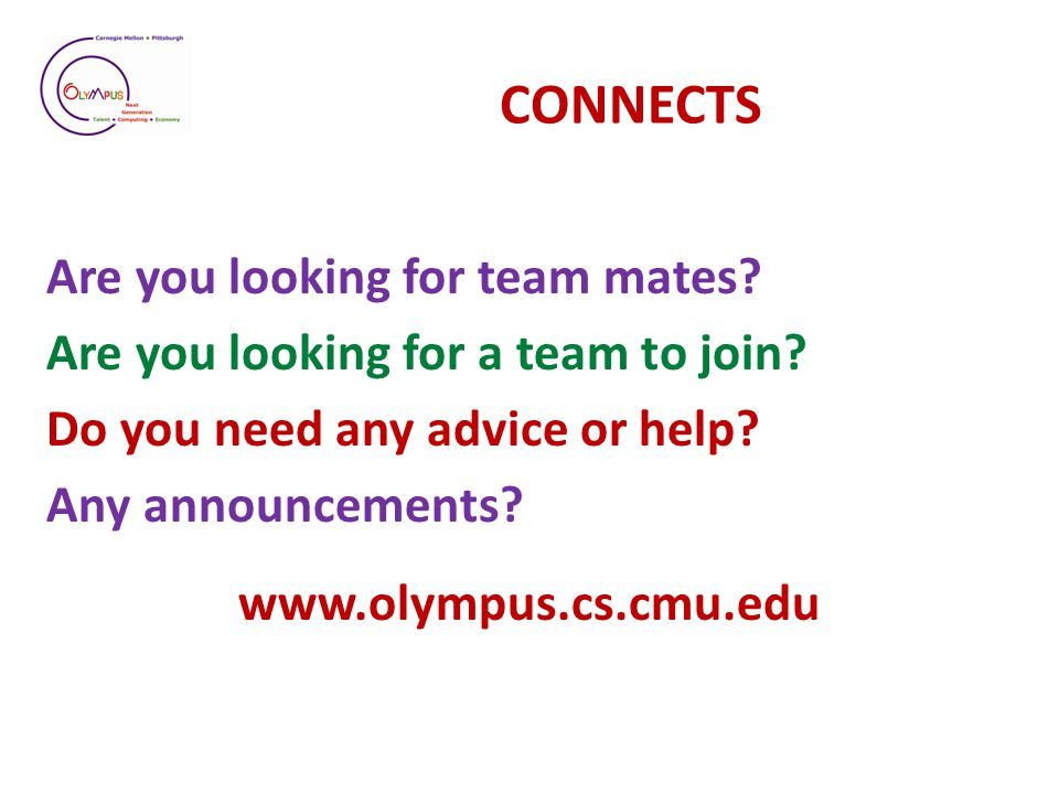 CONNECTS Are you looking for team mates. Are you looking for a team to join.