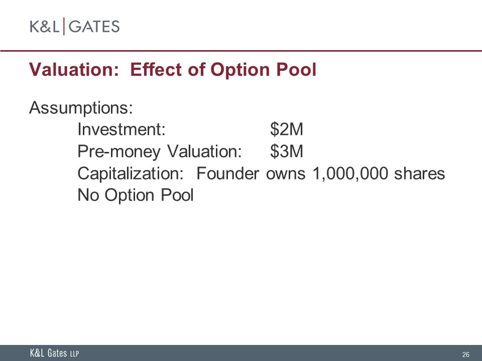 26 Valuation: Effect of Option Pool Assumptions: Investment:$2M Pre-money Valuation:$3M Capitalization: Founder owns 1,000,000 shares No Option Pool