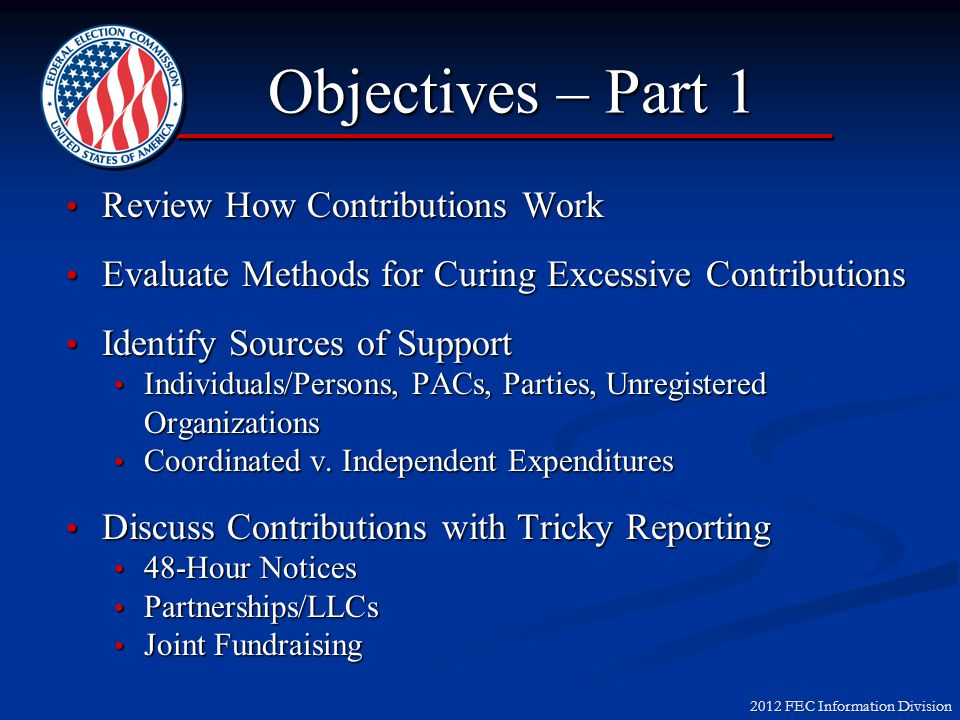 2012 FEC Information Division Volunteer Exemptions Computer Services Volunteers may do the following without making a contribution to a candidate: Spend unlimited amount of their own time e-mailing and doing web activities (work time is limited) Spend unlimited amount of their own time e-mailing and doing web activities (work time is limited) Use personal computer on an unlimited basis (use of work computer is limited) Use personal computer on an unlimited basis (use of work computer is limited) Pay Internet service provider fees Pay Internet service provider fees Pay domain name registration fees Pay domain name registration fees