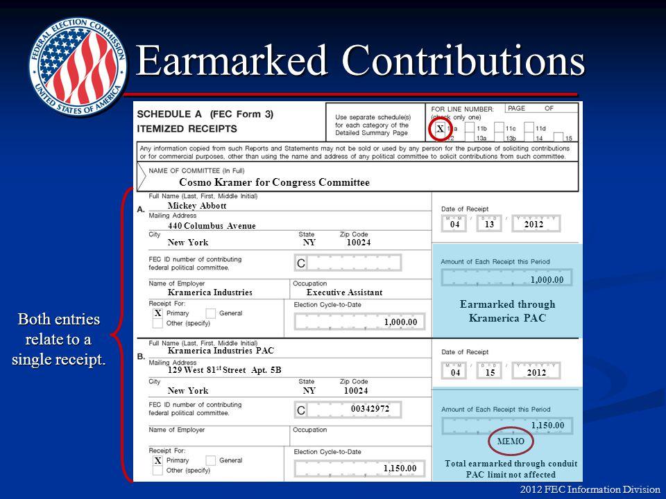2012 FEC Information Division Earmarked Contributions Scenario #3