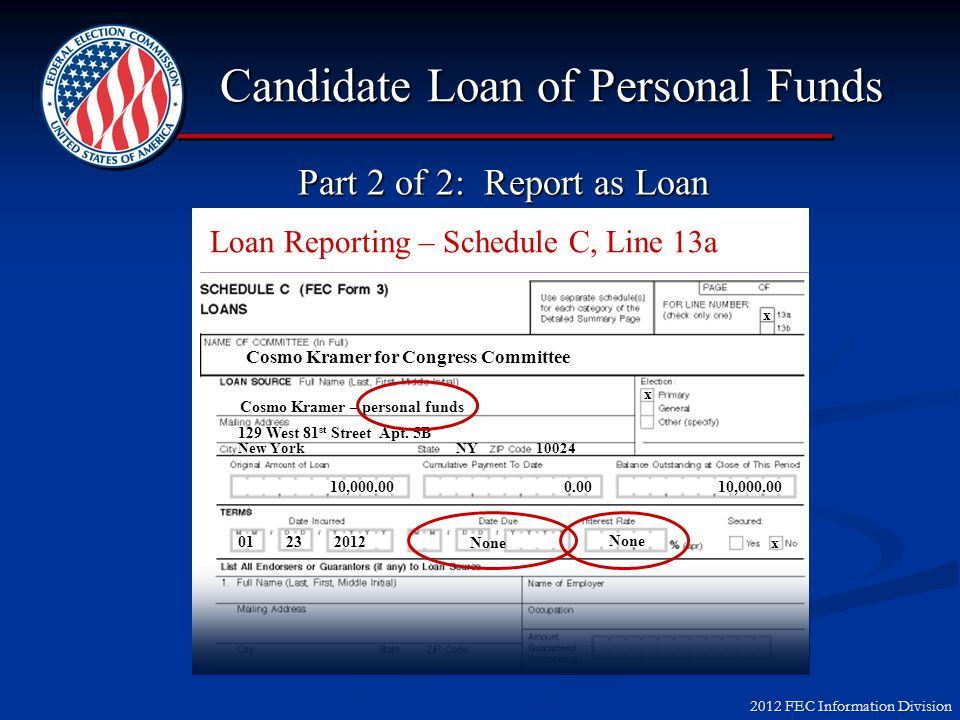 2012 FEC Information Division Candidate Loan of Personal Funds Cosmo Kramer for Congress x Cosmo Kramer 129 West 81 st Street Apt. 5B New York NY 1002