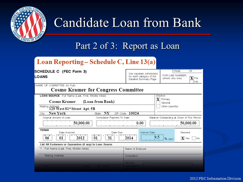 2012 FEC Information Division Candidate Loan from Bank Cosmo Kramer for Congress Committee Cosmo Kramer Kramerica Industries Founder x 60,000.00 06 01