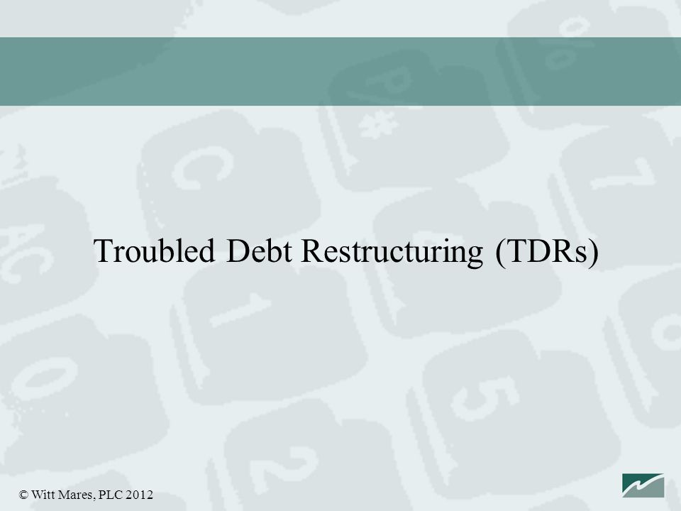 © Witt Mares, PLC 2012 Troubled Debt Restructuring (TDRs)