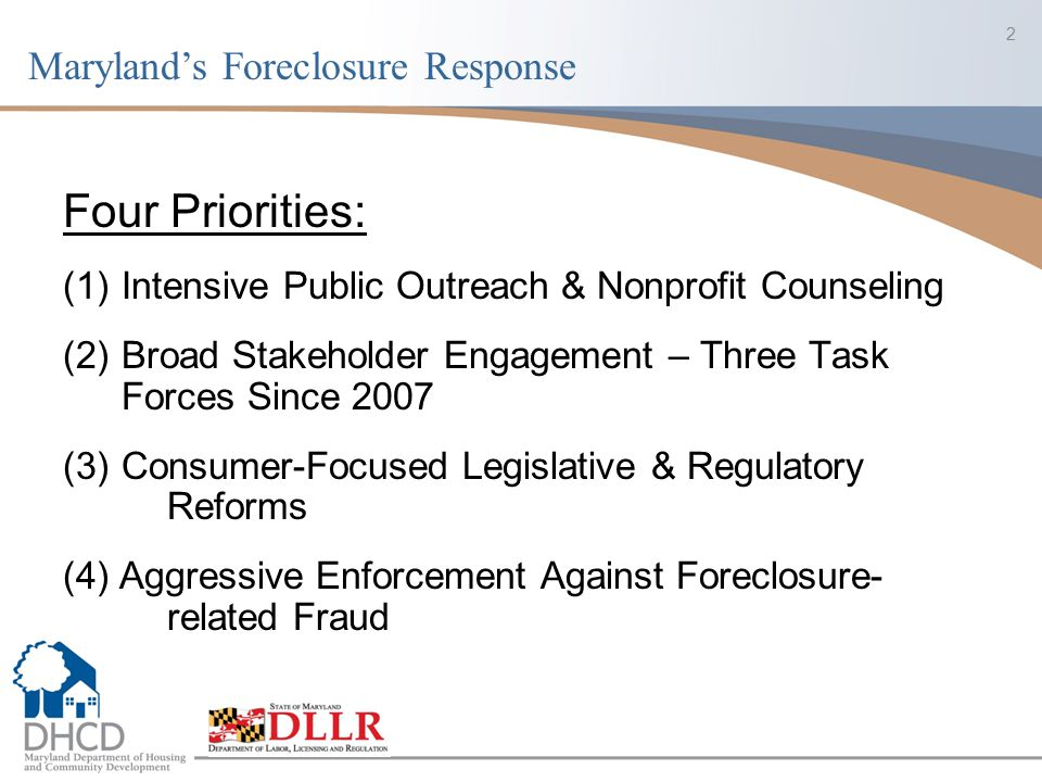 23 Subsequent Mediation Reform Legislation: 2011 Mediation Legislation – process tweaks : Increased time for borrowers to opt-in to mediation from 15 days to 25 days Provided for changes to forms through regulation Made certain changes relating to OAH (rules, timing) 2012 Foreclosure Task Force Legislation Provided expedited process for vacant properties by which local governments can issue certificates of vacancy that enables acceleration of process to foreclose upon and sell vacant properties Created foreclosed property registry Lengthy delays between foreclosure sale and deed recordation left local authorities unable to identify owners responsible for property maintenance and management Office of the Commissioner maintains online database of foreclosed property - Property must be registered within 30 days of foreclosure sale Accessible to local jurisdictions 24x7