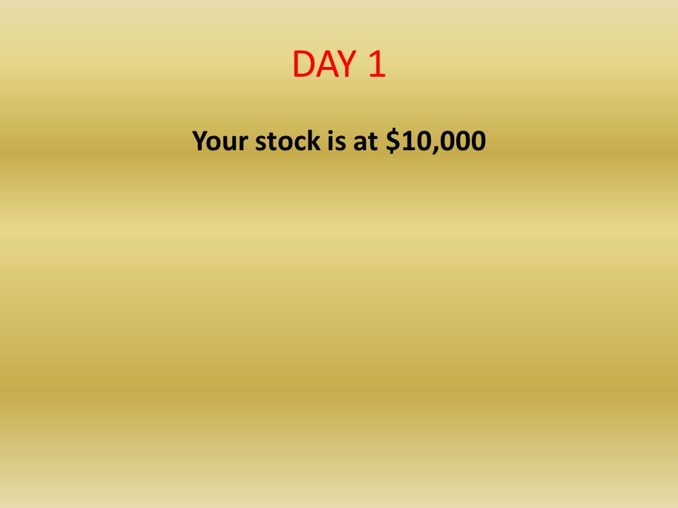DAY 1 Your stock is at $10,000