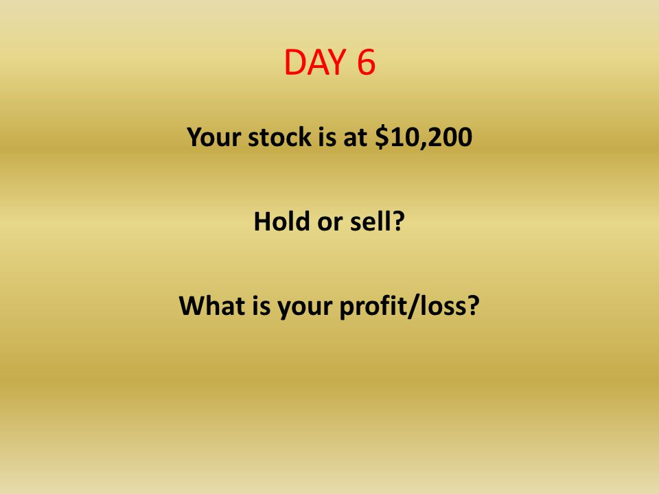 DAY 6 Your stock is at $10,200 Hold or sell? What is your profit/loss?