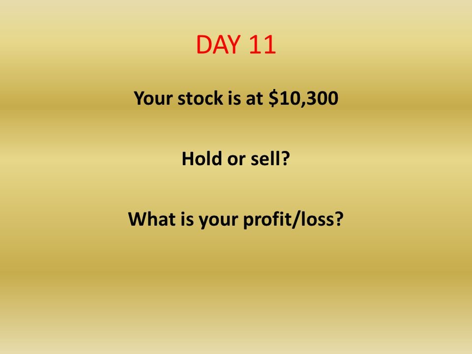 DAY 11 Your stock is at $10,300 Hold or sell? What is your profit/loss?