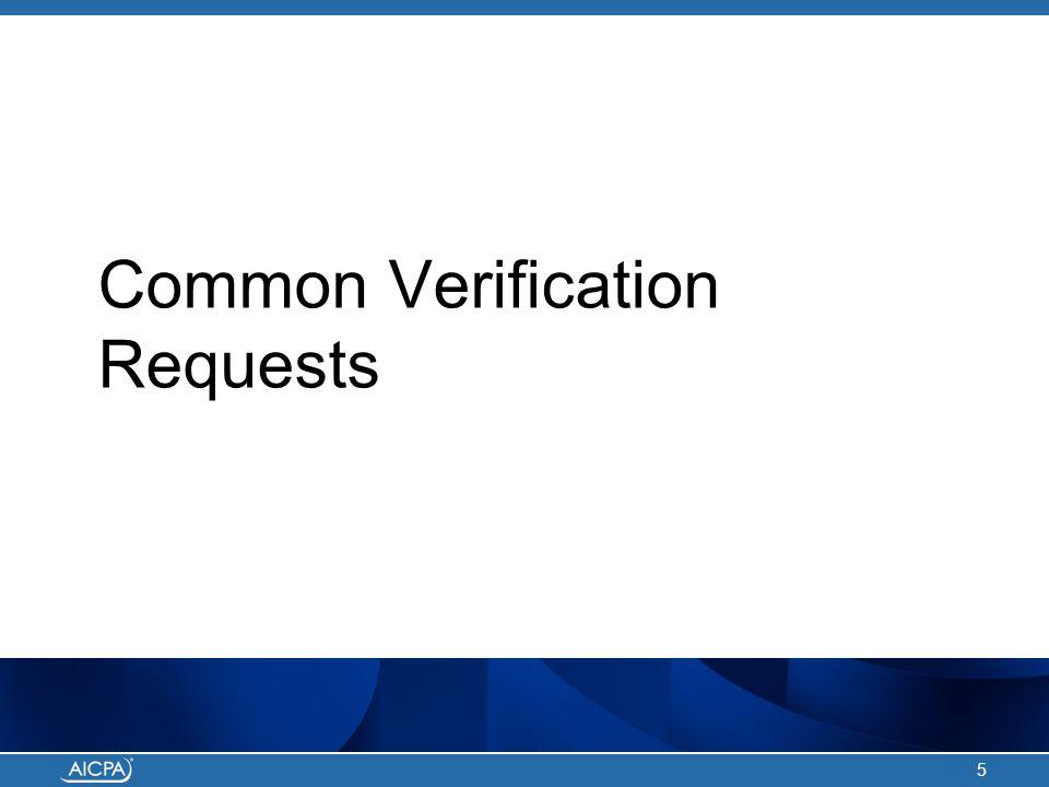 Common Verification Requests 5