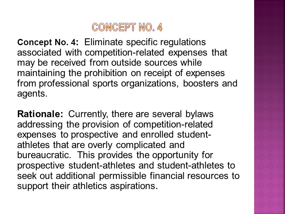 Points to Consider:  Current legislation permits an individual to only accept expenses to compete in an athletics event if the expenses are provided by his or her parents or legal guardians, or the nonprofessional sponsor of an event or a team in which the individual is representing.