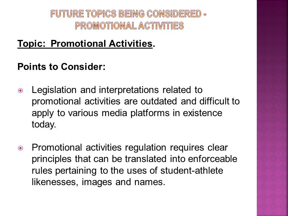 Topic: Promotional Activities.