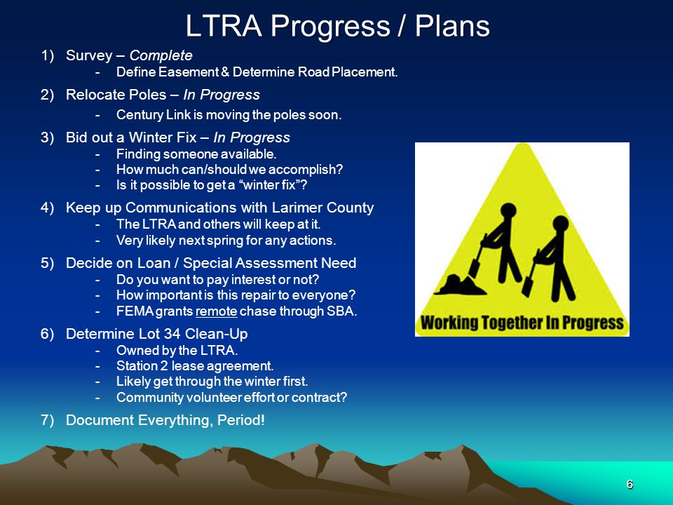 6 LTRA Progress / Plans 6 1)Survey – Complete -Define Easement & Determine Road Placement.