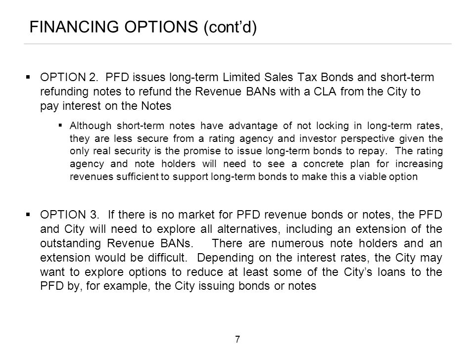 FINANCING OPTIONS (cont'd)  OPTION 2.