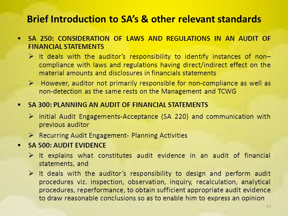 Brief Introduction to SA's & other relevant standards  SA 250: CONSIDERATION OF LAWS AND REGULATIONS IN AN AUDIT OF FINANCIAL STATEMENTS  It deals w