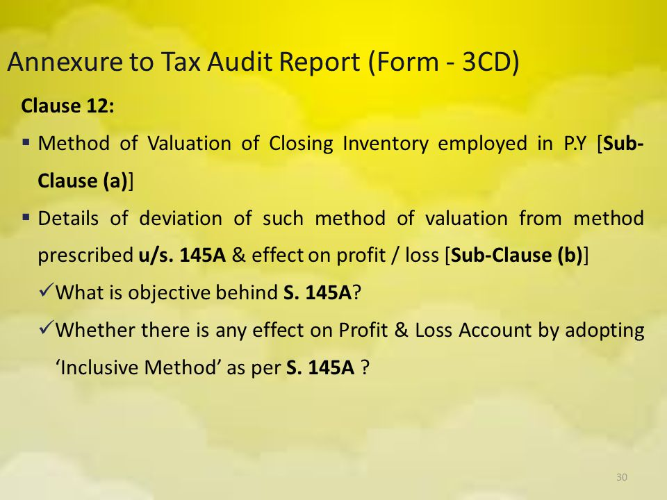 30 Annexure to Tax Audit Report (Form - 3CD) Clause 12:  Method of Valuation of Closing Inventory employed in P.Y [Sub- Clause (a)]  Details of devi