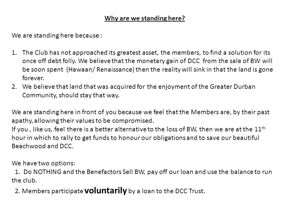 So This Is How It Can Work Following a number of meetings with the DCC Trust and DCC Board, the DCC Trust have agreed to support this Member Initiative.