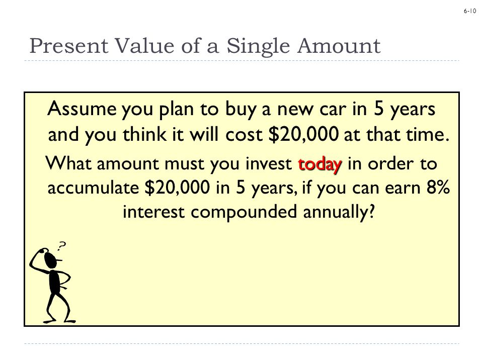 6-10 Present Value of a Single Amount Assume you plan to buy a new car in 5 years and you think it will cost $20,000 at that time.