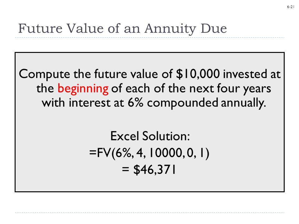 6-21 Future Value of an Annuity Due Compute the future value of $10,000 invested at the beginning of each of the next four years with interest at 6% compounded annually.
