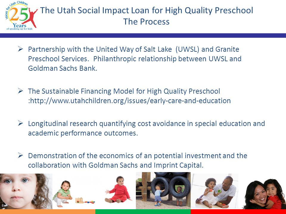 The Utah Social Impact Loan for High Quality Preschool The Process  Partnership with the United Way of Salt Lake (UWSL) and Granite Preschool Services.