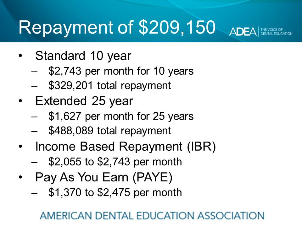 Repayment of $209,150 Standard 10 year –$2,743 per month for 10 years –$329,201 total repayment Extended 25 year –$1,627 per month for 25 years –$488,089 total repayment Income Based Repayment (IBR) –$2,055 to $2,743 per month Pay As You Earn (PAYE) –$1,370 to $2,475 per month