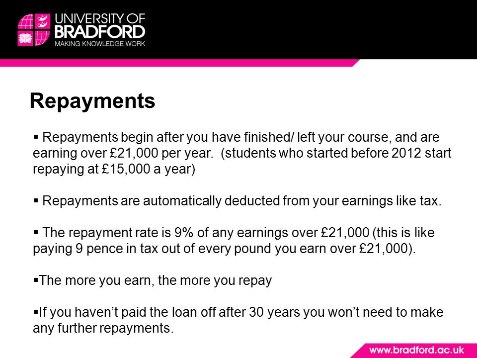 Repayments  Repayments begin after you have finished/ left your course, and are earning over £21,000 per year. (students who started before 2012 star