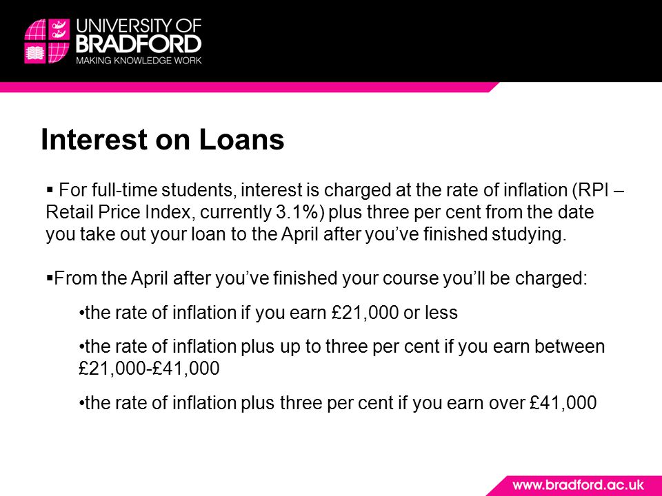 Interest on Loans  For full-time students, interest is charged at the rate of inflation (RPI – Retail Price Index, currently 3.1%) plus three per cent from the date you take out your loan to the April after you've finished studying.