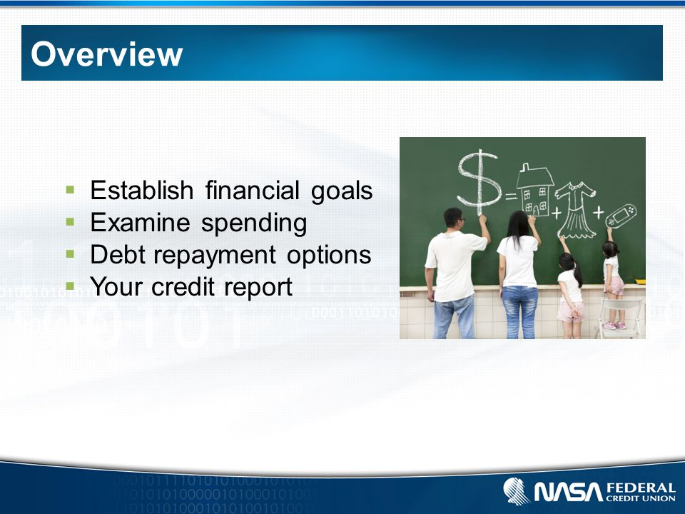 Overview  Establish financial goals  Examine spending  Debt repayment options  Your credit report