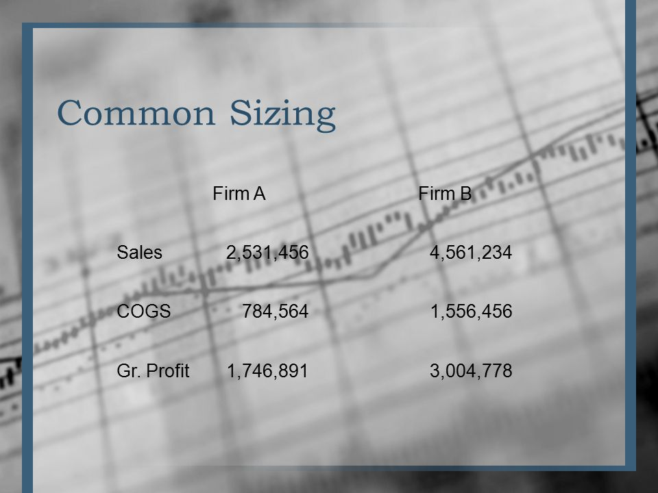 Common Sizing Firm A Firm B Sales2,531,4564,561,234 COGS784,5641,556,456 Gr.