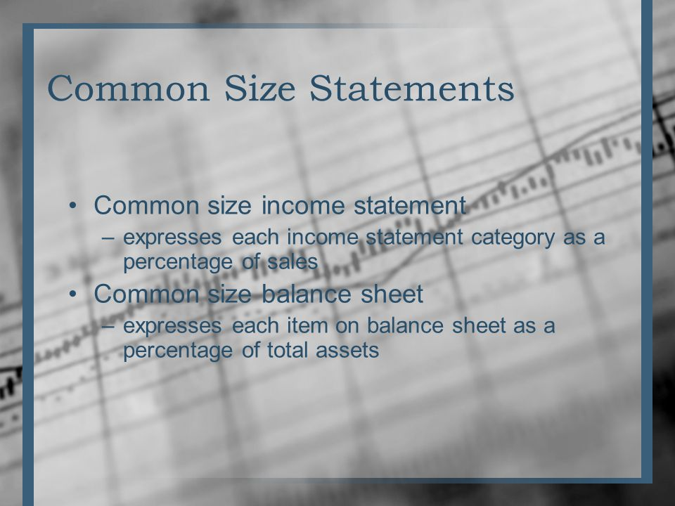 Common Size Statements Common size income statement –expresses each income statement category as a percentage of sales Common size balance sheet –expresses each item on balance sheet as a percentage of total assets