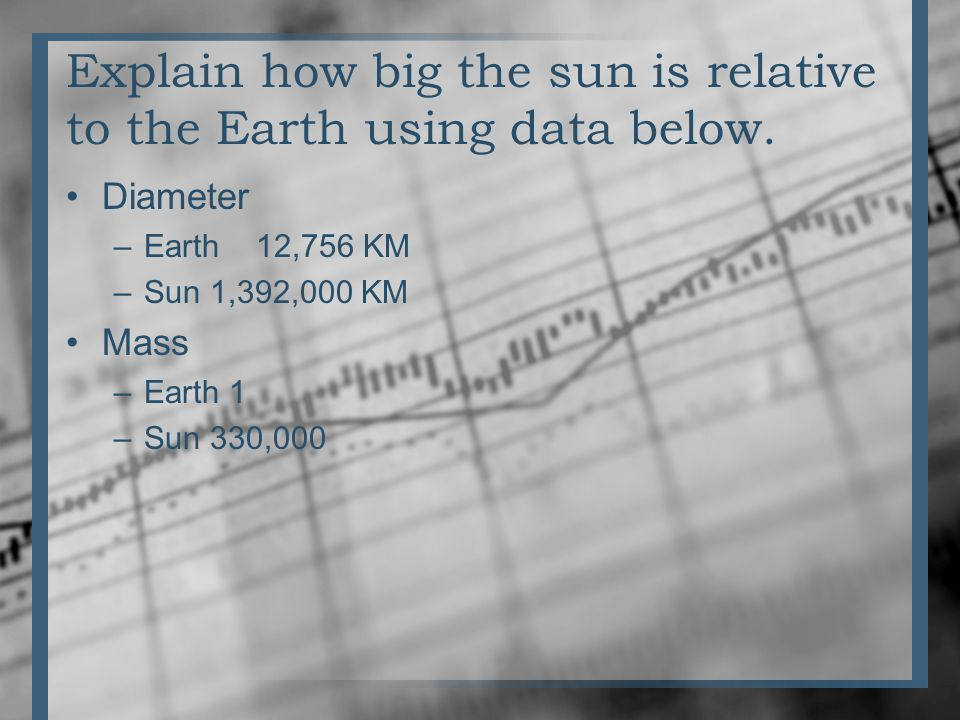 Explain how big the sun is relative to the Earth using data below.