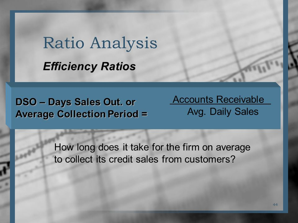 44 Ratio Analysis Efficiency Ratios How long does it take for the firm on average to collect its credit sales from customers.