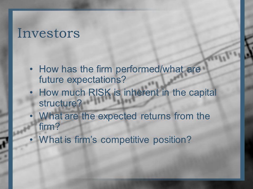 Investors How has the firm performed/what are future expectations.