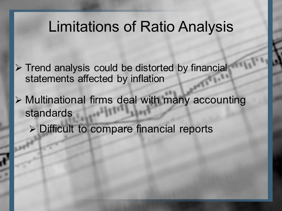  Trend analysis could be distorted by financial statements affected by inflation Limitations of Ratio Analysis  Multinational firms deal with many accounting standards  Difficult to compare financial reports