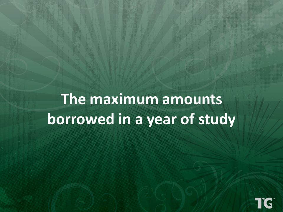 The maximum amounts borrowed in a year of study