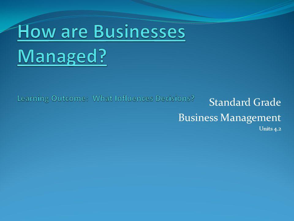 Standard Grade Business Management Units 4.2