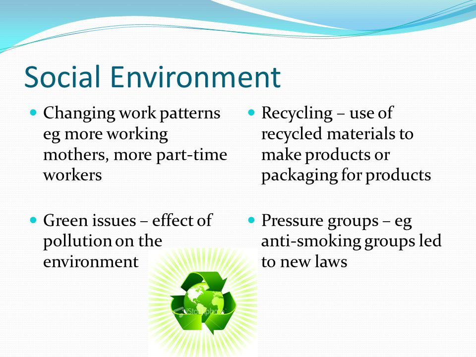 Social Environment Changing work patterns eg more working mothers, more part-time workers Green issues – effect of pollution on the environment Recycling – use of recycled materials to make products or packaging for products Pressure groups – eg anti-smoking groups led to new laws