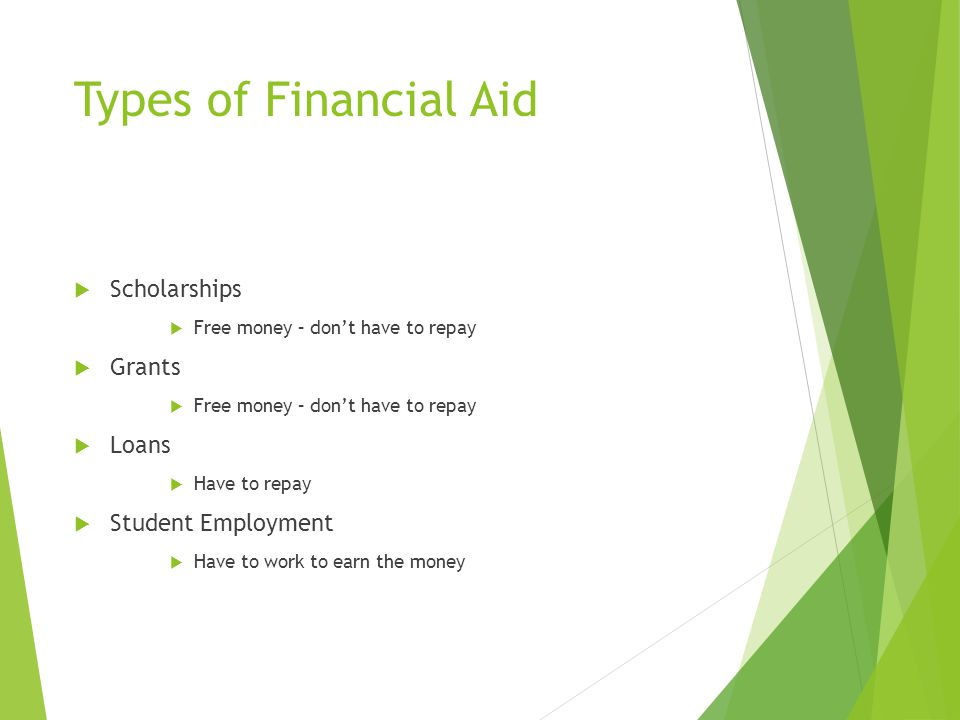 Types of Financial Aid  Scholarships  Free money – don't have to repay  Grants  Free money – don't have to repay  Loans  Have to repay  Student