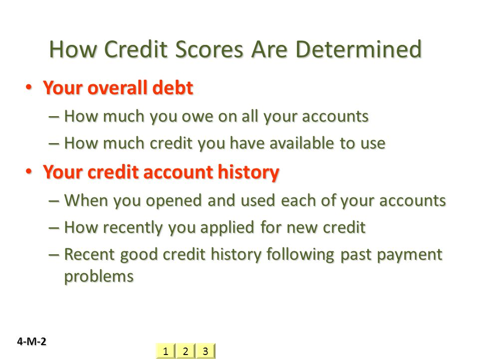 How Credit Scores Are Determined Your overall debt Your overall debt – How much you owe on all your accounts – How much credit you have available to u