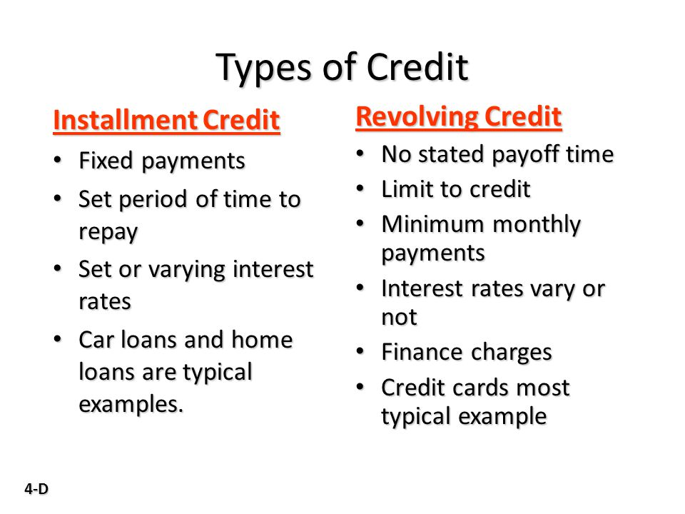 4-D Types of Credit Installment Credit Fixed payments Fixed payments Set period of time to repay Set period of time to repay Set or varying interest r
