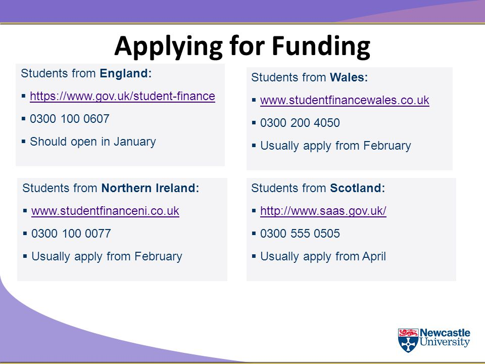 Applying for Funding Students from England:  https://www.gov.uk/student-financehttps://www.gov.uk/student-finance  0300 100 0607  Should open in January Students from Northern Ireland:  www.studentfinanceni.co.ukwww.studentfinanceni.co.uk  0300 100 0077  Usually apply from February Students from Scotland:  http://www.saas.gov.uk/http://www.saas.gov.uk/  0300 555 0505  Usually apply from April Students from Wales:  www.studentfinancewales.co.ukwww.studentfinancewales.co.uk  0300 200 4050  Usually apply from February