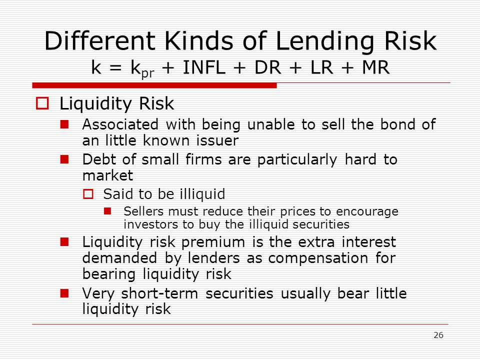 27 Different Kinds of Lending Risk k = k pr + INFL + DR + LR + MR  Maturity Risk Bond prices and interest rates move in opposite directions Long-term bond prices change more with interest rate swings than short-term bond prices  Gives rise to maturity risk Investors demand a maturity risk premium  Ranges from 0% to 2% or more for long-term issues