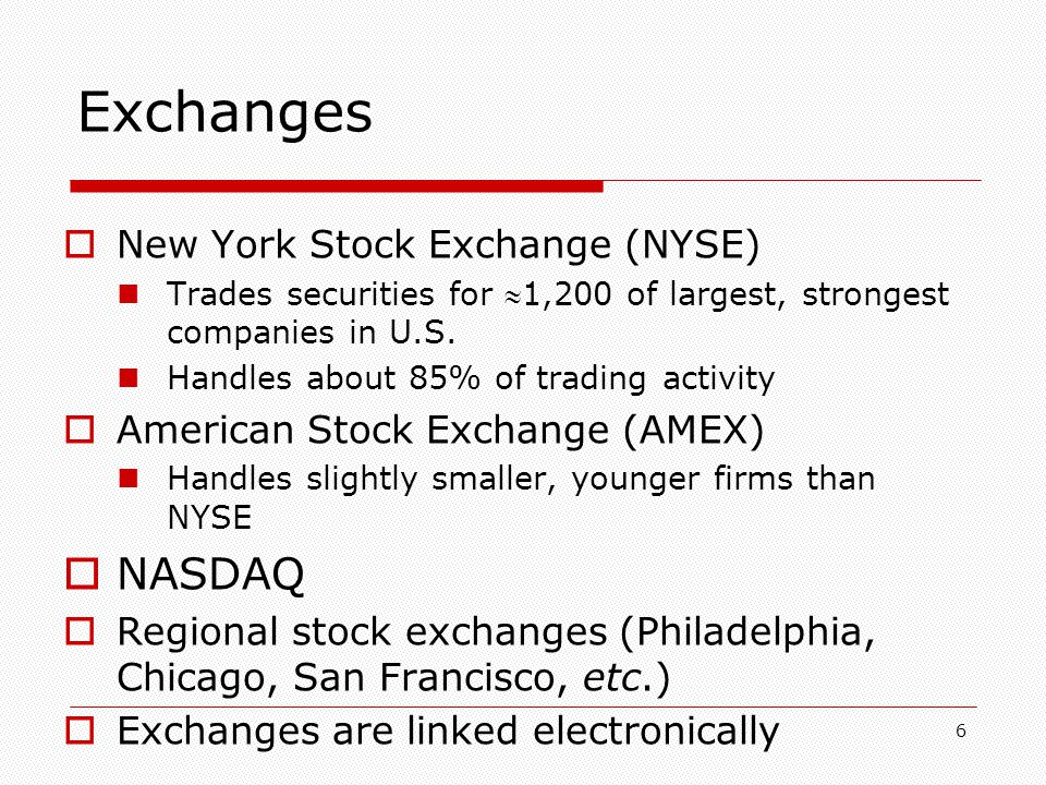 7 Exchanges  The Market The stock market refers to the entire interconnected set of places, organizations and processes involved in trading stocks  Regulation Securities are regulated under state and federal laws  Securities Act of 1933 Required companies to disclose certain information  Securities Act of of 1934 Set up Securities and Exchange Commission Securities law is primarily aimed at disclosure