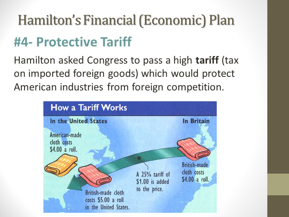 Hamilton's Financial (Economic) Plan #4- Protective Tariff Hamilton asked Congress to pass a high tariff (tax on imported foreign goods) which would protect American industries from foreign competition.